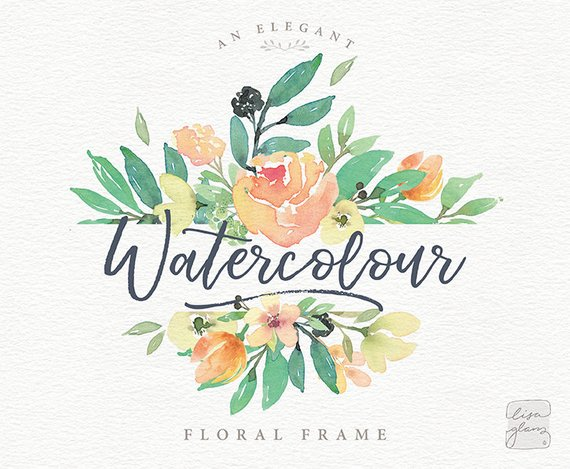 570x469 Watercolor Floral Frame Hand Painted Floral Rectangle Frame