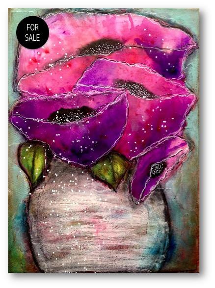 438x587 Ken Oliver Color Burst Watercolor Flowers Mixed Media Art Tutorials