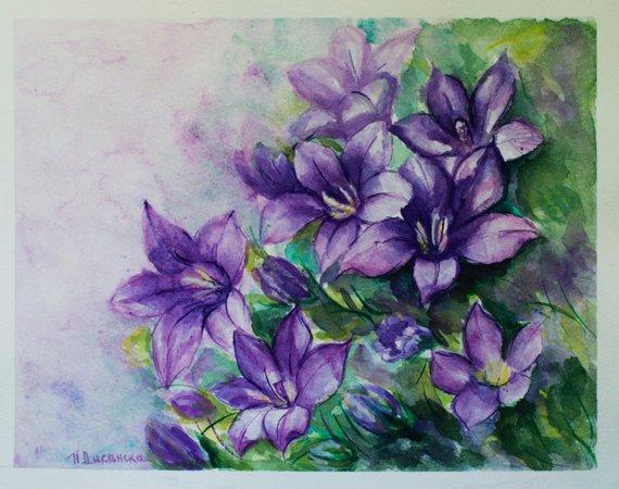 570x450 Sale Watercolor Flowers Purple Flowers Painting Original Etsy