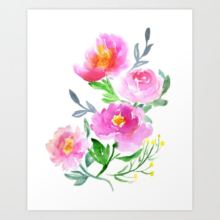a1425532c64 700x700 Watercolor Flower Bouquet Art Print By Lalabower Society6