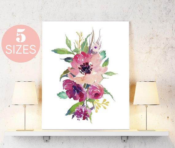570x482 Watercolor Flowers Print Watercolor Print Floral Print Etsy
