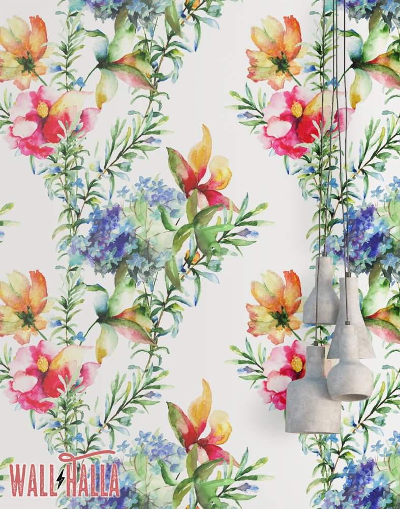 787x1000 Watercolor Flowers Wallpaper Removable Wallpaper Tropical Etsy