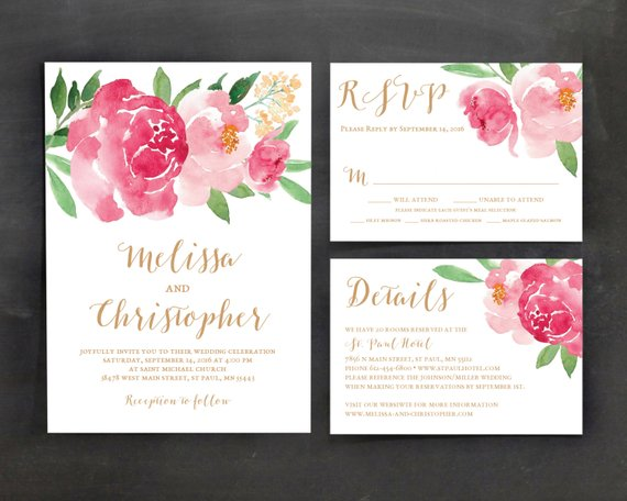 Watercolor Flower Wedding Invitations At Getdrawings Com Free For