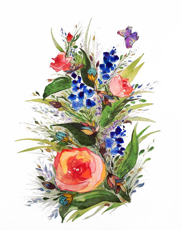 1181x1500 Flower Butterfly Art, Watercolor Flowers, Flower Giclee Print