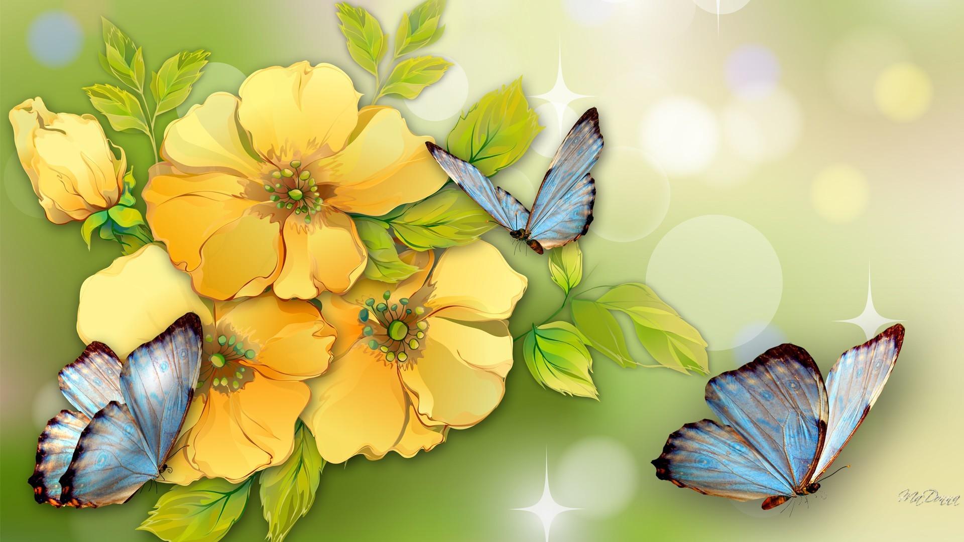 1920x1080 Flower Yellow Flowers Blue Butterflies Watercolor Summer Fragrant