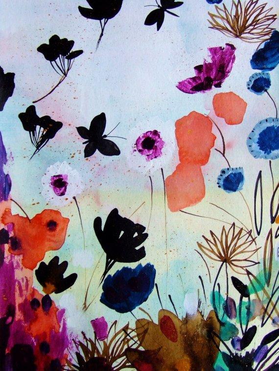 570x757 Original Watercolor Flowers Butterflies Original Painting Etsy