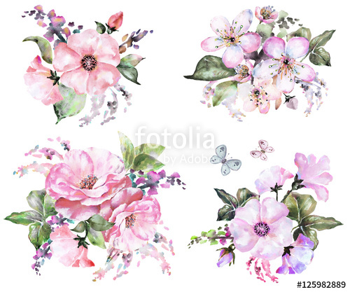 500x417 Painted Watercolor Flowers. In Pastel Color, Composition