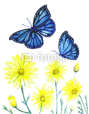 313x400 Painting Watercolor Flowers And Butterflies Vintage Buy Photos