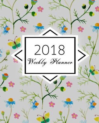 325x406 2018 Weekly Planner Watercolor Flowers Butterflies Calendar