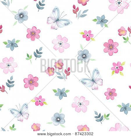 450x470 Seamless Floral Pattern With Watercolor Flowers And Butterflies In