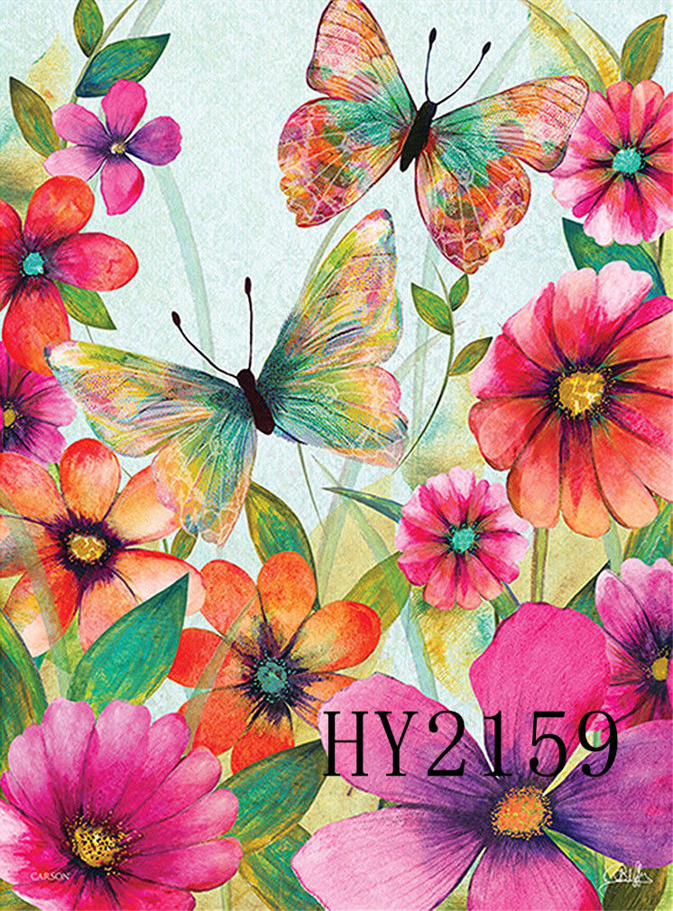 746x1010 Watercolor Flowers Butterfly Garden Flag House Decorative Flags