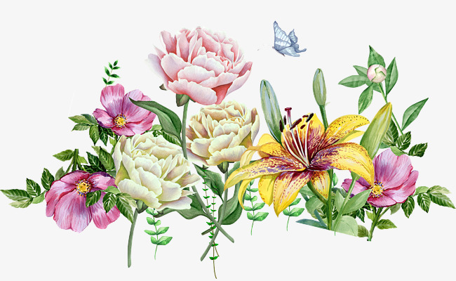 650x400 Watercolor Flowers, Plant, Butterfly, Garden Png And Psd File For