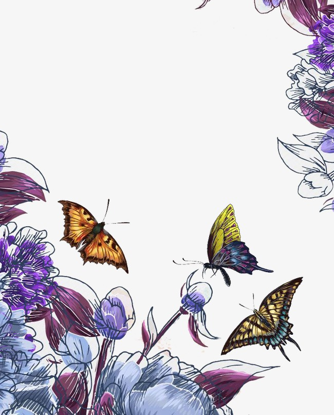 650x807 Watercolor Flowers Border Butterfly Background, Watercolor, Hand