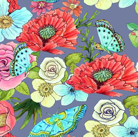 470x469 Watercolor Flowers Amp Butterflies In Mid Grey Wallpaper