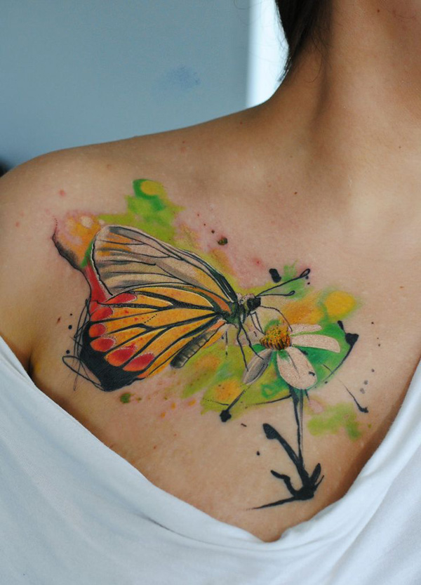 600x833 50 Butterfly Tattoos With Flowers For Women