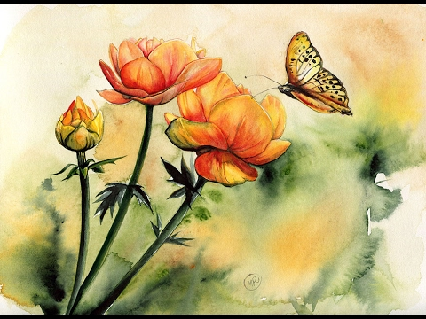 480x360 Watercolor Flowers And A Butterfly Painting Demonstration