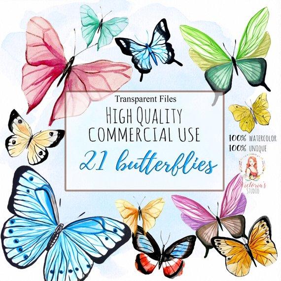 570x570 Watercolor Butterflies Watercolor Bundle Watercolor Clipart Etsy