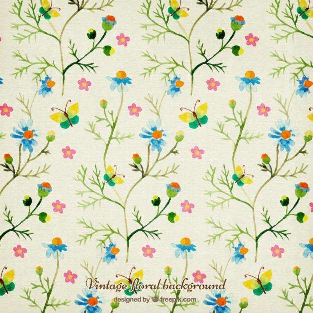 626x626 Watercolor Flowers And Butterflies Background Vector Premium