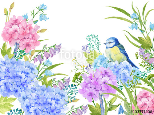 500x374 Floral Background .illustration Of Watercolor. Flowers Peonies