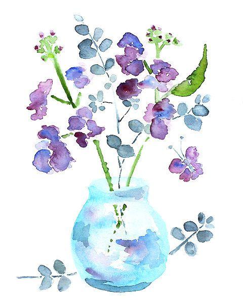 480x600 Watercolor Flower, Bathroom Art, Bathroom Wall Decor, Watercolor