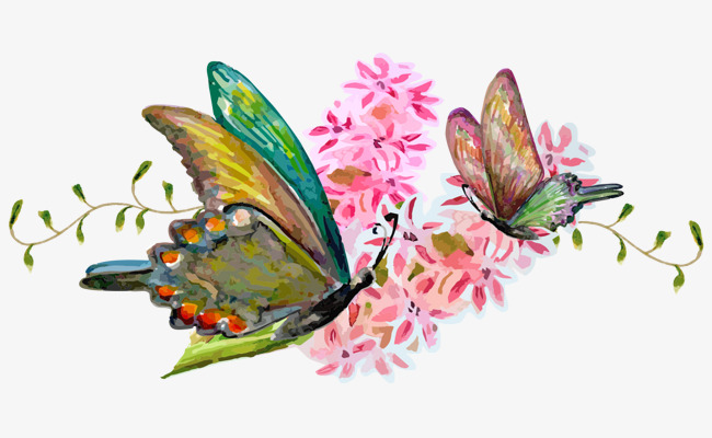 650x400 Beautiful Butterfly Cartoon Hand Painted Watercolor Red Flowers