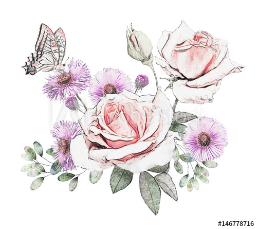 500x445 Watercolor Flowers. Floral Illustration In Pastel Colors, Rose