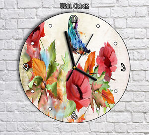 300x273 Beautiful Watercolor Flowers Butterfly Round Wall Clock For Home