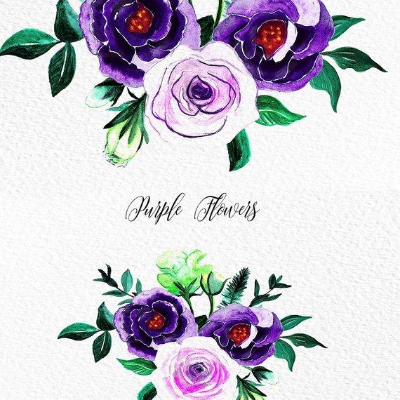 570x570 Purple Flower Clipart Watercolor Flowers Png Purple Roses Etsy