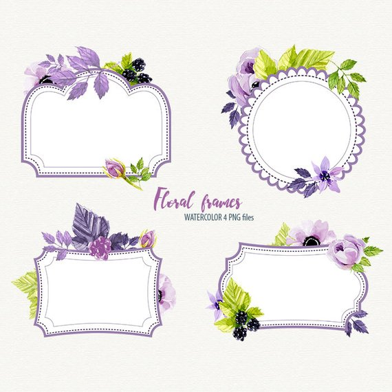 570x570 Bridal Shower Frame Watercolor Frame Watercolor Flower Etsy