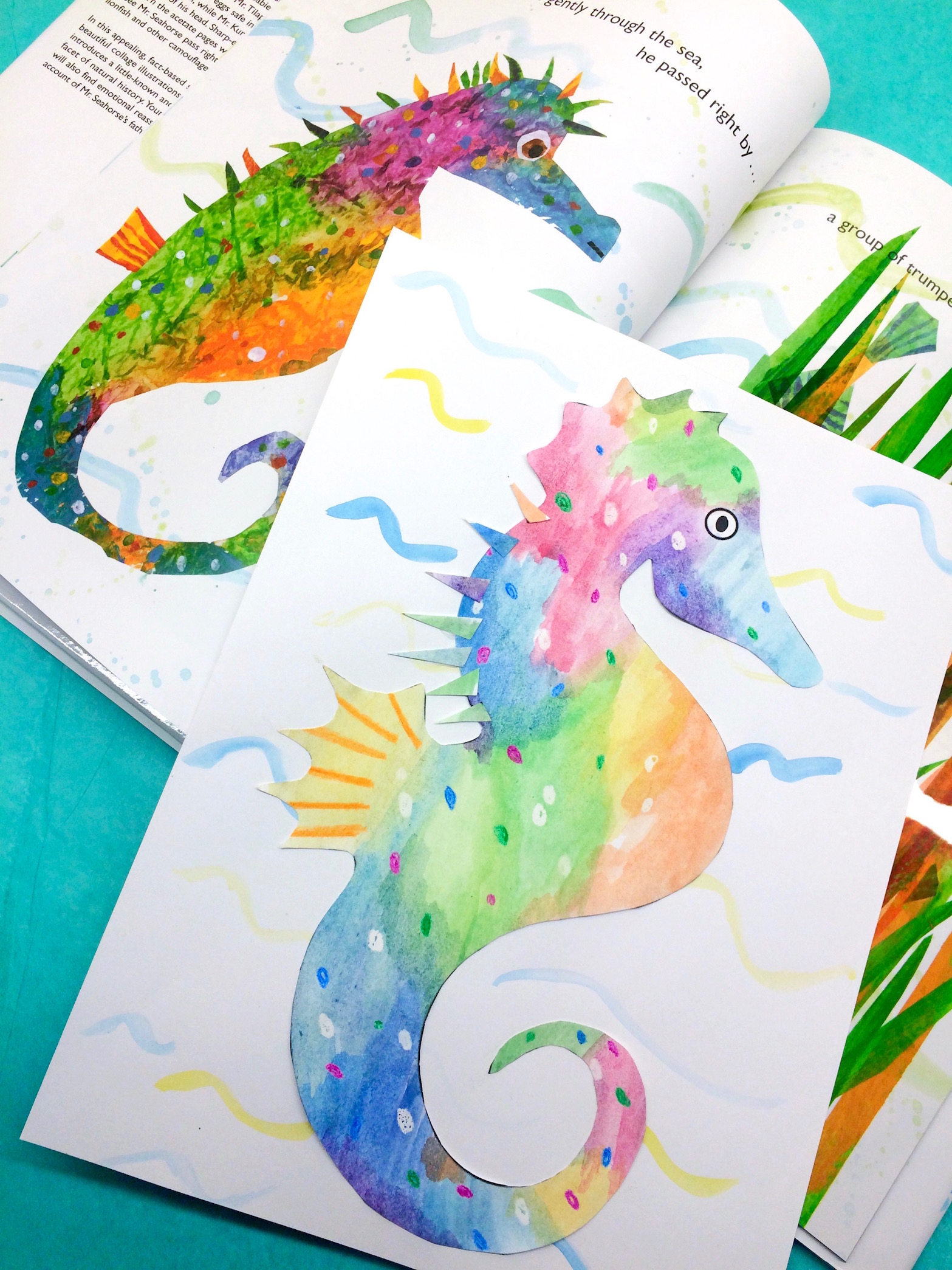 1567x2089 Eric Carle Inspired Watercolor Seahorse Collage