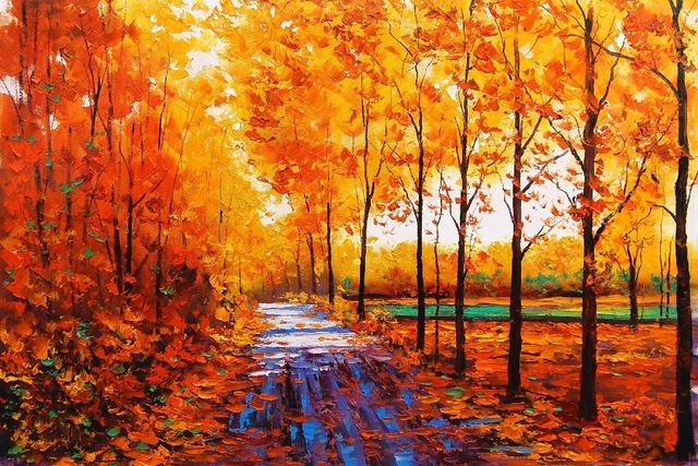 640x427 Art Watercolor Autumn Red Maple Forest With Forest Path Landscape