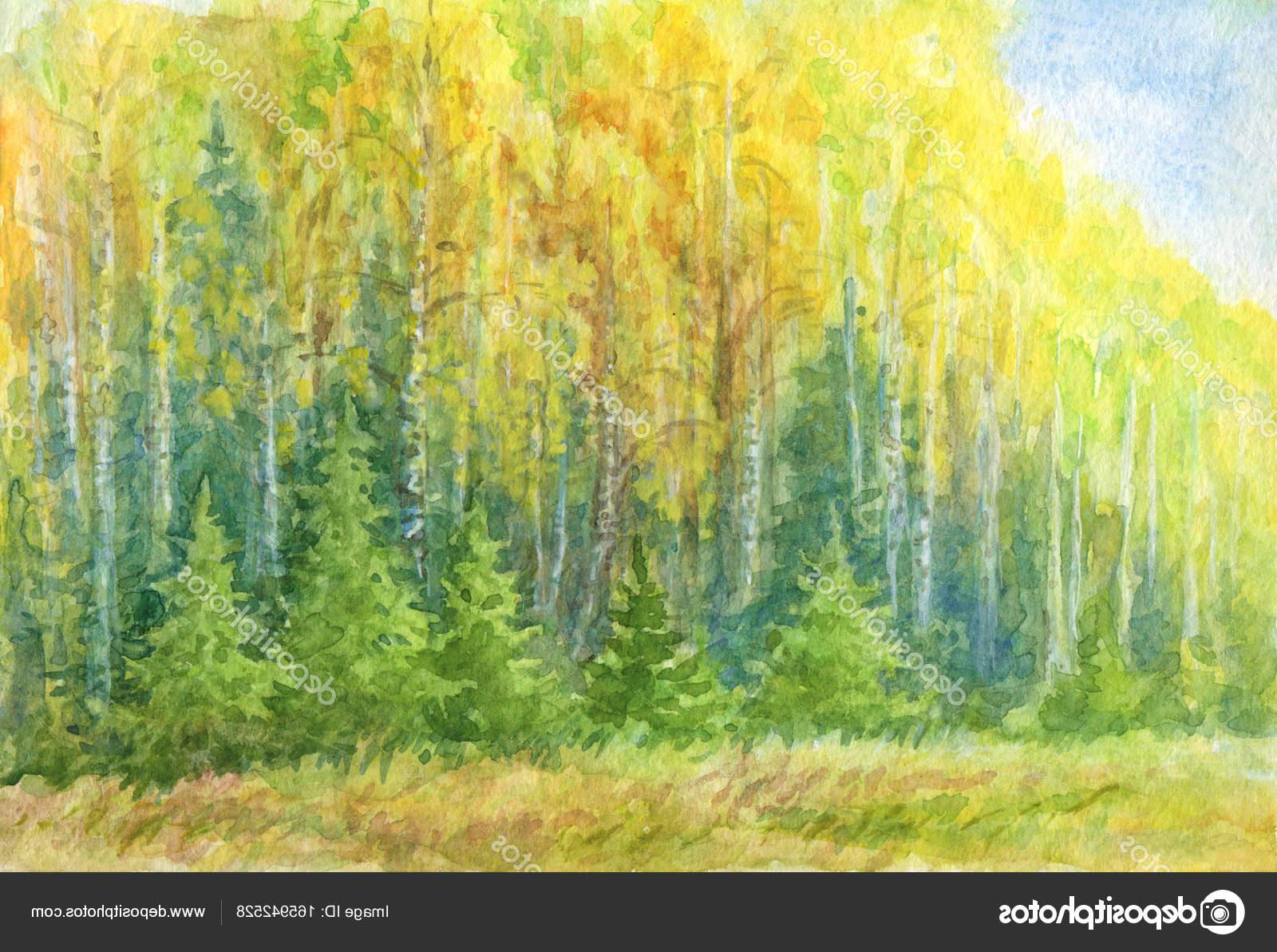 1600x1193 Forest Landscape Drawing Autumn Forest Landscape Watercolor