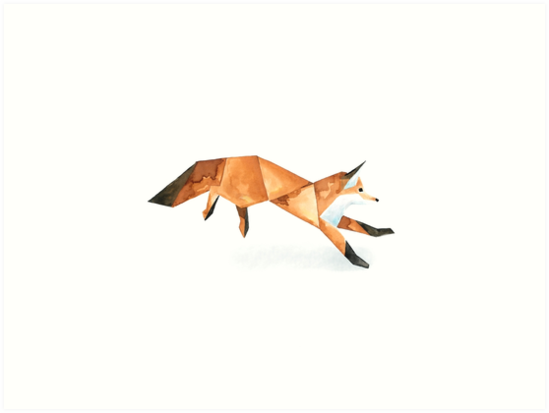 549x413 Low Poly Watercolor Fox. Art Prints By Scarriebarrie Redbubble