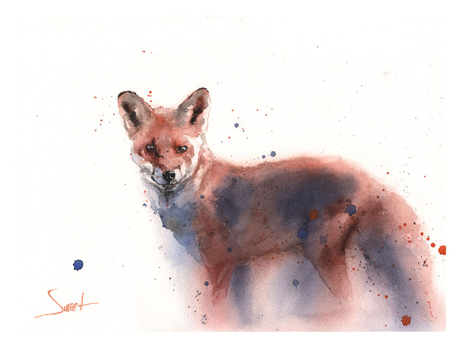933x700 Red Fox Watercolor Print Watercolor Animal Paintings