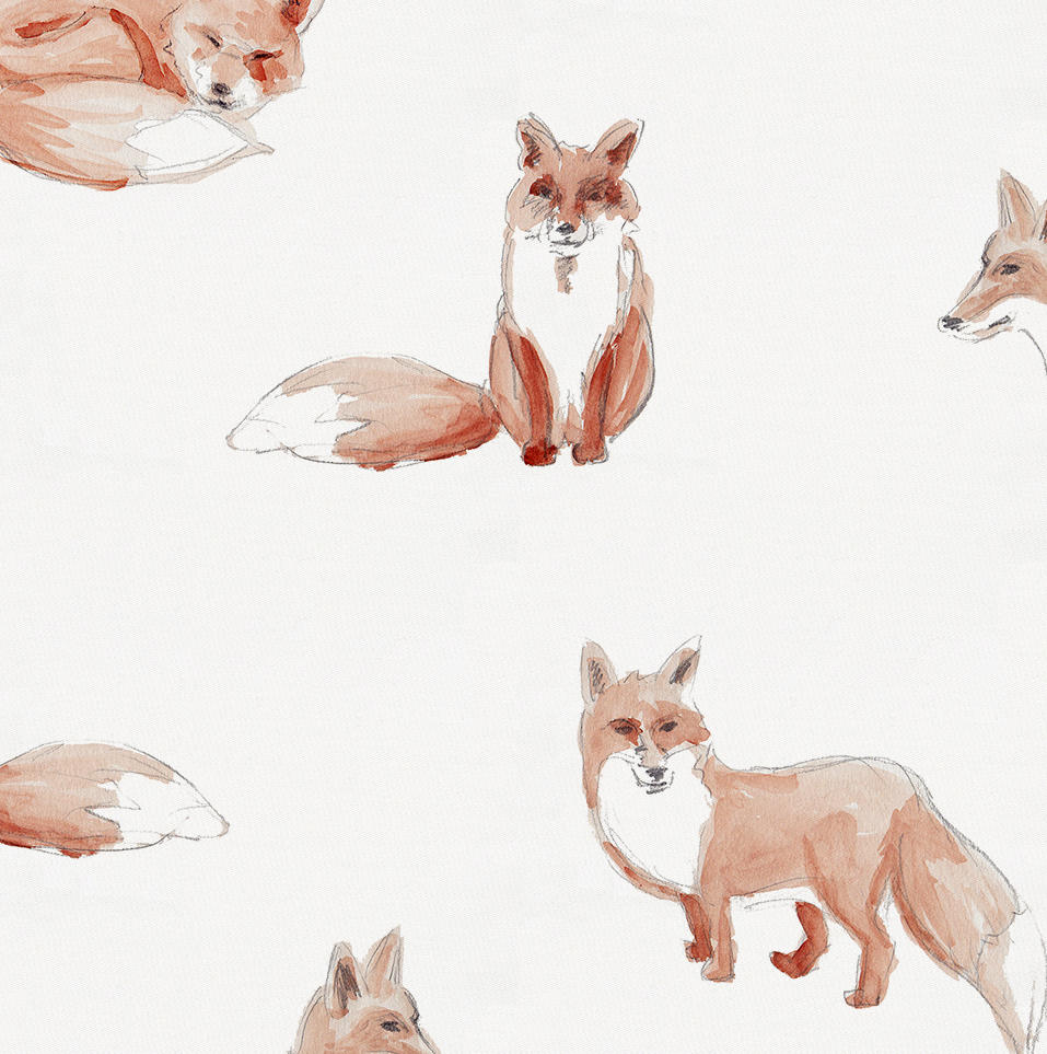 957x963 Watercolor Fox Fabric By The Yard Orange Fabric Carousel Designs