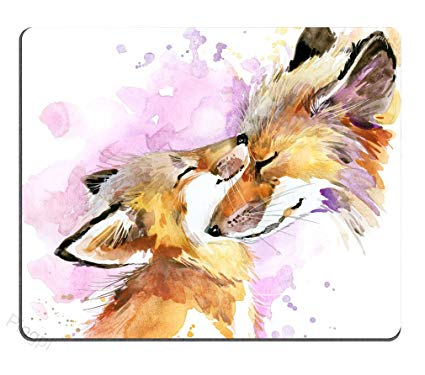 425x375 Pingpi Portable Mouse Pad Custom, Watercolor Fox And