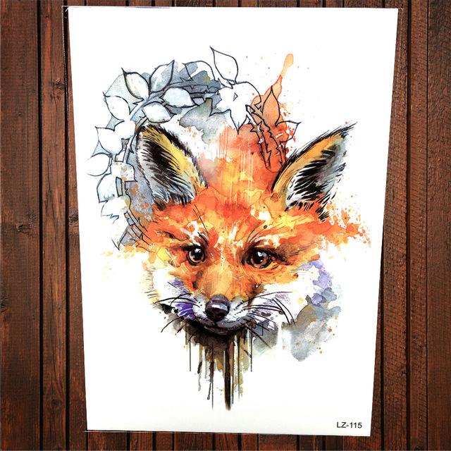 640x640 Watercolor Fox Face Temporary Tattoo Women Body Art Painting