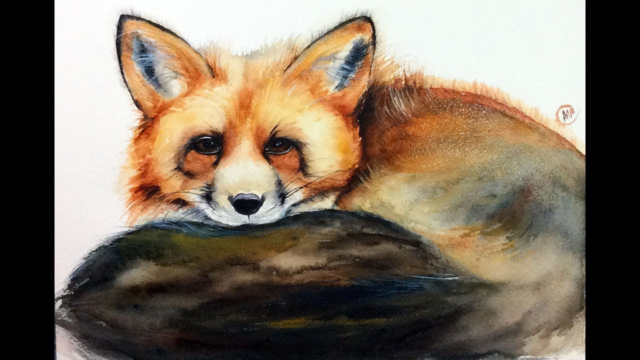 1280x720 Watercolor Fox Painting Demonstration