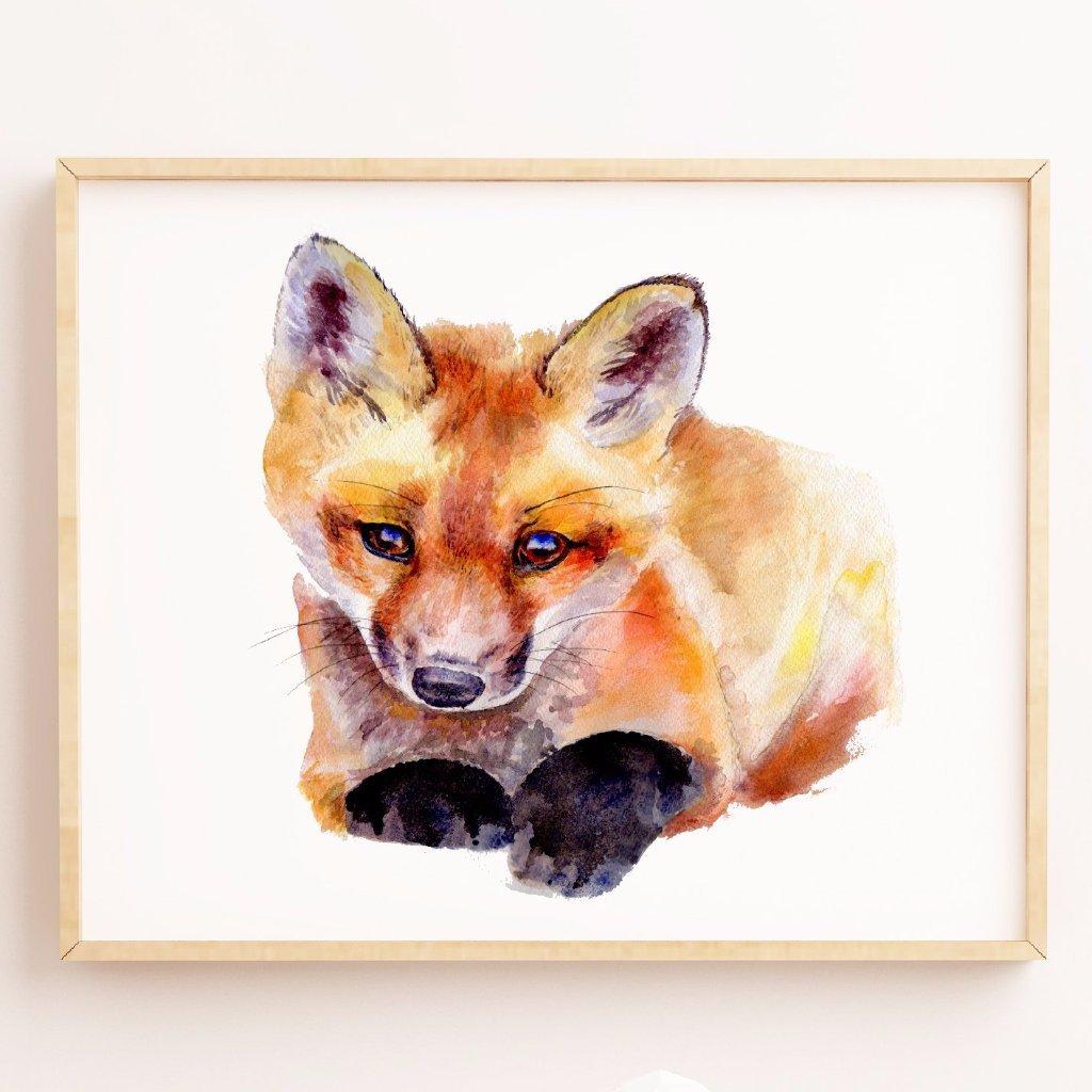 1024x1024 Watercolor Fox Print