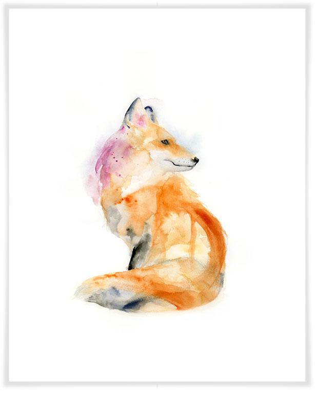 614x775 Watercolor Fox Profile, Woodland Canvas Wall Art Greenbox