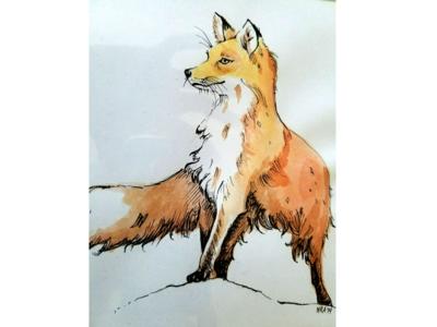 400x300 Watercolor Fox By Nicole Ajamian