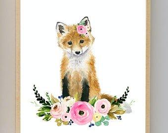 340x270 Watercolor Fox Etsy