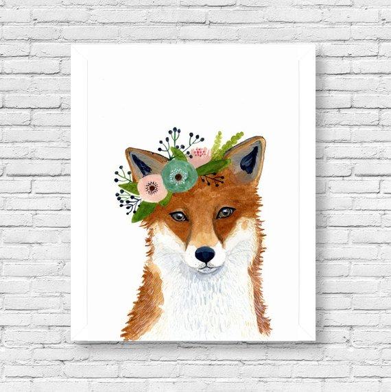 570x572 Watercolor Fox Woodland Nursery Art Animal Paintings Fox Etsy