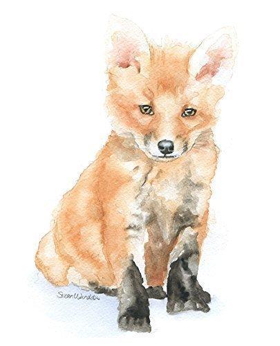 405x500 Baby Fox Watercolor Print Handmade