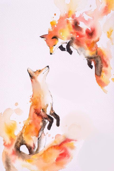 480x719 Watercolor Fox Tattoo Idea Tattoos Foxes