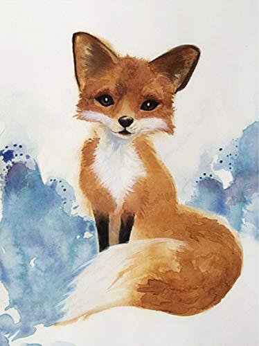 374x500 Watercolor Fox Art Giclee Print Handmade