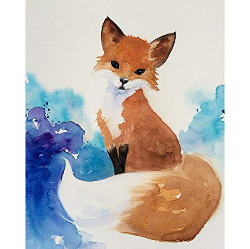 503x500 Watercolor Fox Art Print, Home Decor, Giclee Fine Art