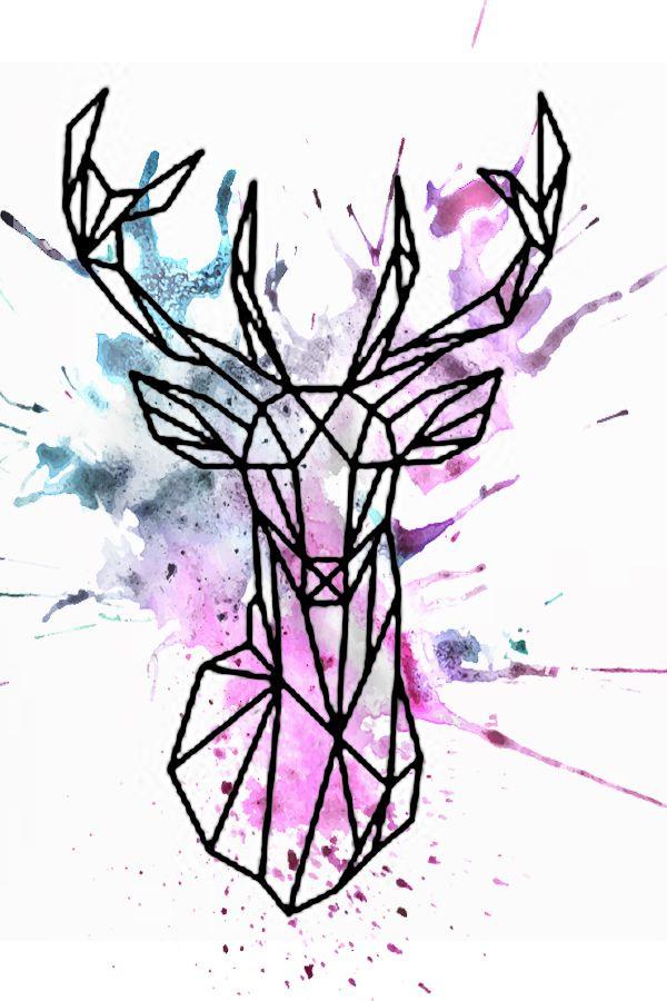 600x900 Watercolor Geometric Deer Design Deer