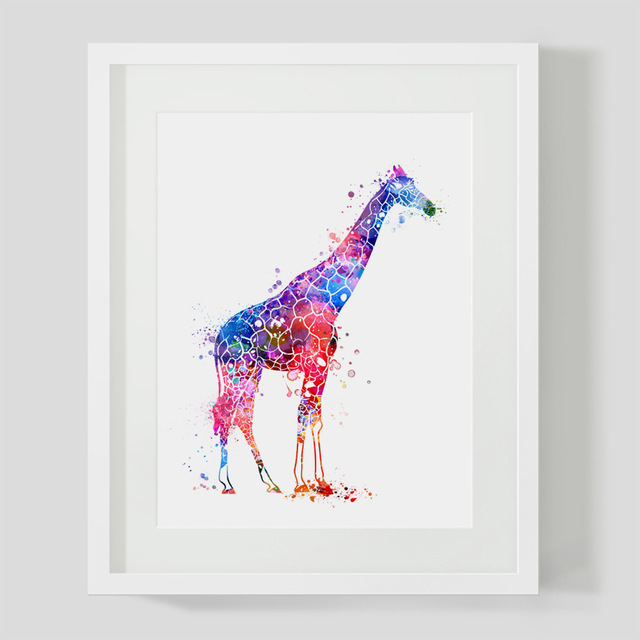 Watercolor Giraffe Art