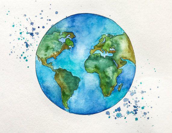 570x442 Globe Art, World Map Art, Watercolor Painting, Travel Illustrator